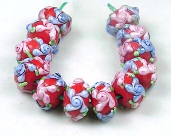 "12 Lampwork Handmade Glass Beads ""Primrose Flower"" IV  (L643)"