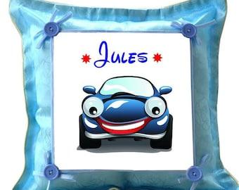 Blue car custom cushion with name