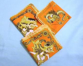 "BATIK SEMAR 3 Cloth 10"" Squares /Napkins /Handkerchiefs with Hindu Figures and Dragons - Frameable Squares - Hindu Culture"