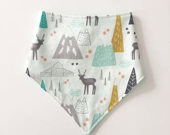 Mountain and deer bandana bib