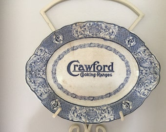 Vintage Blue and White Crwaford Cooking Range Oval Plate