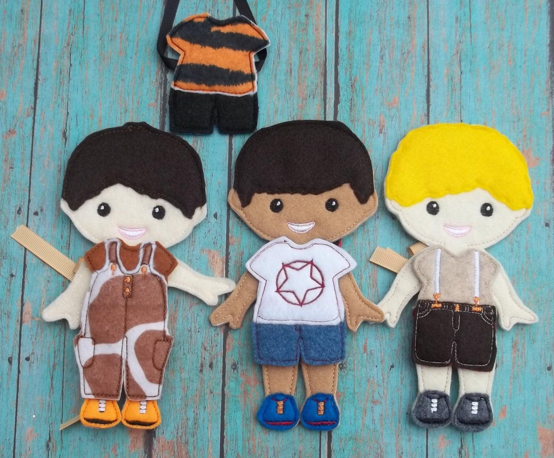 Dress Up Boy BBF Best Friends Forever Felt 5 Un Paper Doll