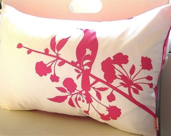 Hot Pink Print on Off  White Blooming Blossom Rectangle Pillow