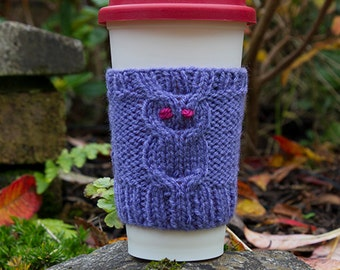 Woots been drinking my coffee? Owl Mug Cozy, hand knitted, Travel Mug Cozy, mug sweater, Coffee Cup Sleeve, gift for her, gift for him