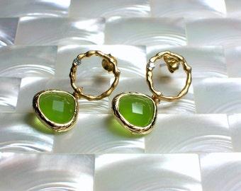 Modern Earrings, Dangle Earrings, Stud Earrings, Matte Gold Jewelry, Opaque Green glass CZ Earrings, Post Earrings, Stud Earrings Jewellery