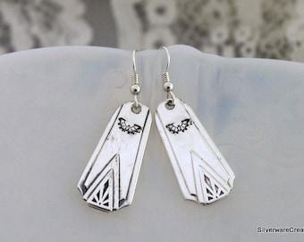 Spoon Earrings BAT Silverware Earrings Vintage Jewelry - DEAUVILE 1929 - STERLING Silver Ear Wires Keepsake Gift Under 30