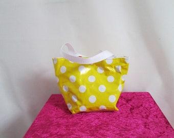 Mini yellow polka dot oilcloth tote bag