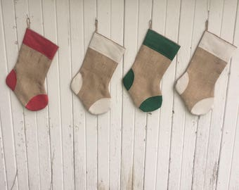 Burlap Christmas Stockings with Cuff & Patches Detail- Off-White/Green/Red Cotton- Natural Burlap- Rustic-Cabin-Woodland-Holiday Decor