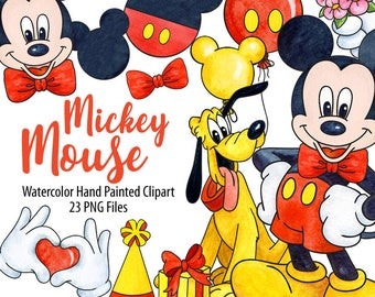 Watercolor Mickey Mouse Clipart. Digital Prints, Planner Sticker  Scrapbooking, Hand Painted Graphics,