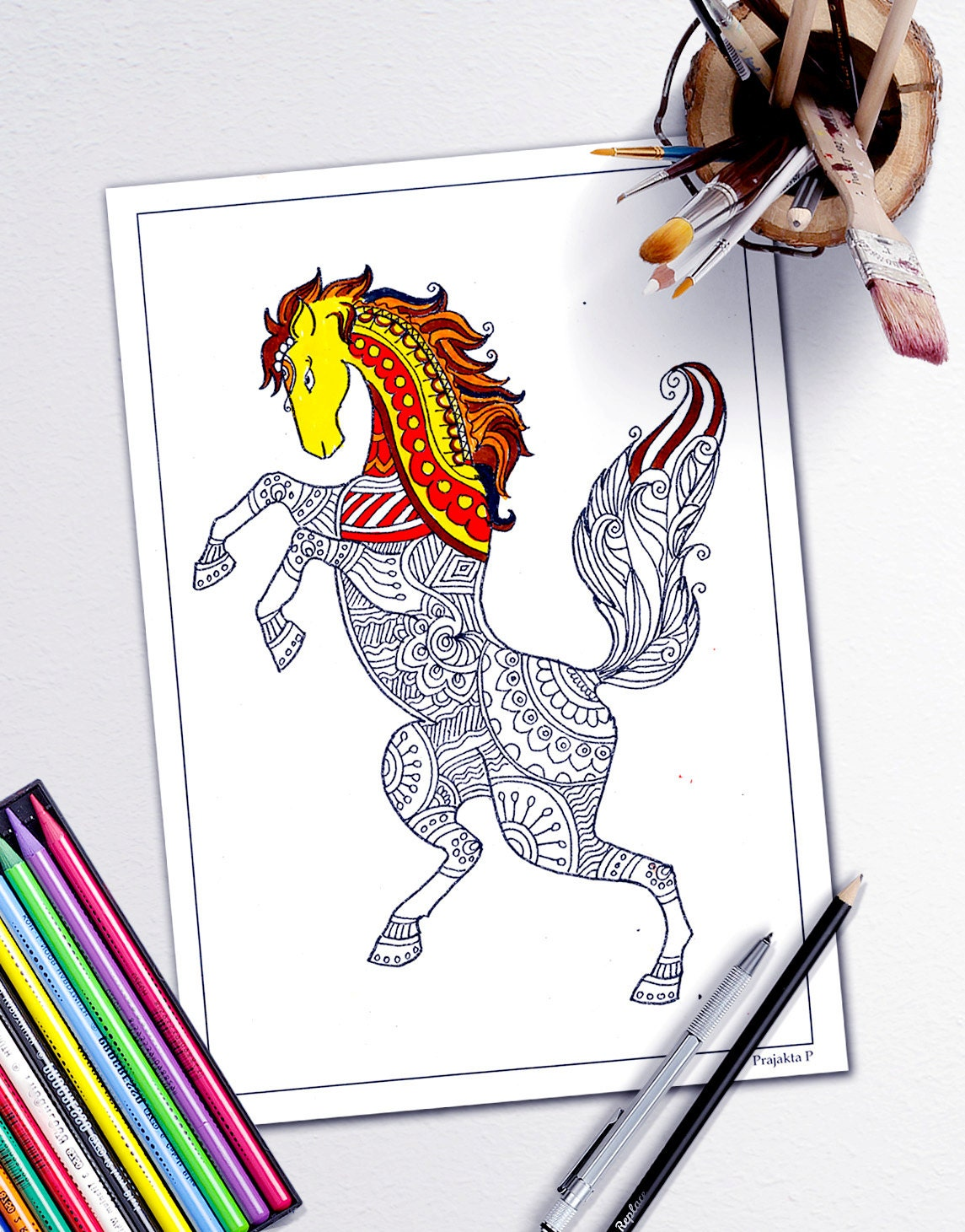 Adult Coloring Book Page Stress Relieving Animal Designs
