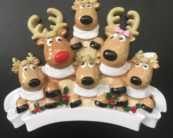 Reindeer with Scarves Family of 6 Personalized Christmas Ornament