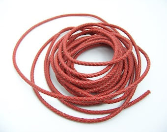 Red 5mm Braided Leather Cord 4978