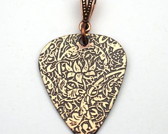 Lotus flower guitar pick pendant, etched copper jewelry, gift for zen music lover 30mm