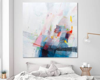 Large ABSTRACT PAINTING Original Modern Painting Abstract canvas art Large Wall Art 40x40 Above Bed Art by DUEALBERI