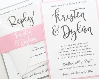 Wedding Invitation Suite, Printed Wedding Invite, Pink, Blush, Gray, Silver, Custom Colors | PRINTED SAMPLE