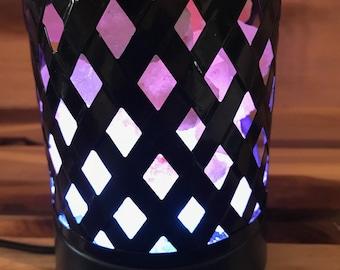 Black Lattice Himalayan Color Changing Salt Lamp - USB