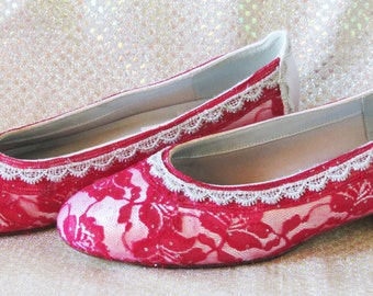 WeDDING LACe FLATS - White Satin with Red Sparkle Lace - Sz. 8 ONLY