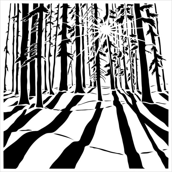 """Sunlit Forest, 6""""x6""""  Stencil /  template a Carmen Medlin design perfect for mixed media, scrapbooking, journaling and so much more"""