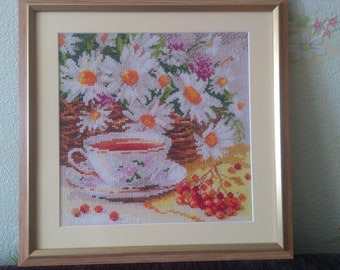 "Embroidered cross-stitch/Artwork by cross/ Tea-party/Flowers Camomiles/Embroidered picture ""A cup of tea"""