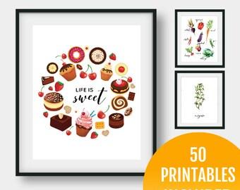 50 Prints - Kitchen Printable Set - Instant Download