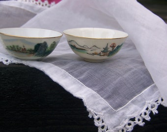 China Bowls - Adorable - Hand Painted - Made in Japan - 14 kt gold trimmed