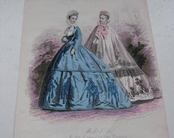 """Antique Fashion Drawing """" petit courriers des Dames """"1880-1890."""