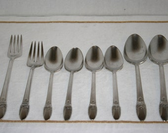 1937 Rogers Bros. Silver Plate Silverware Lot//Pattern - First Love//Lot of 9 Pieces//Vintage Rogers Bros. Silverware