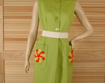 Vintage 1960s Lime Green Summer Dress Pinwheels Size Medium