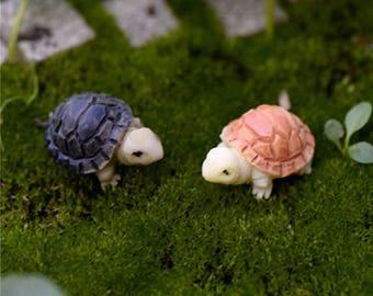 2 pcs Mini Tortoise Model Fairy Garden Miniatures DIY Doll House Terrarium Home
