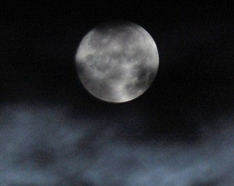 Midnight Whispers, silver full moon print, blue clouds, black night sky print, cloudy moon photo, night-time clouds & moon photograph