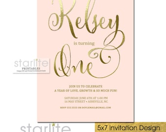1st Birthday Invitation Girl Pink Gold, Pink and Gold First Birthday Invitation, First Birthday Invite Girl Pink and Gold Printable, Printed
