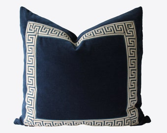 Decorative Greek Key Pillow, Indigo, Navy Blue Velvet, Chinoiserie Pillow, 22x22, 24x24, 26x26, Throw Pillow