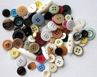 Vintage Mixed Buttons, Variety Lot, Sewing, Craft, Findings, Novelty, Scrap Booking, Gems, Many Sizes, Multi Colored, Three Ounces 1A