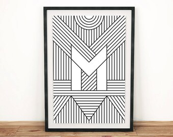 "Typography Print | Letter Print ""M"" 