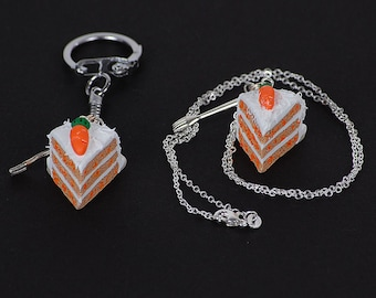 Miniature Polymer Clay Carrot Cake Slice Necklace or Keychain with Silver Fork Charm