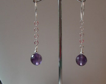 Sterling and Amethyst chain earrings