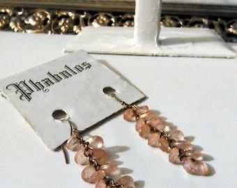 Vintage Cluster Faceted Rose Beaded Chandelier Silver Hook Earrings