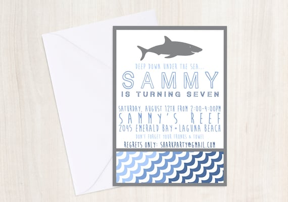 Shark party Invitation - Pool party Invitation- party supplies