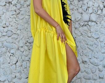 Yellow Cotton Dress, Short Sleeve Dress, Summer Dress, TDK241, Comfy Clothing, Asymmetrical Dress, Loose Dress, Teyxo