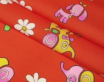 Vintage, red-Orange children's wool kimono fabric with Elephants, dogs and flowers  - by the yard