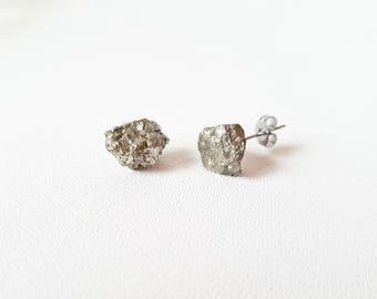 Raw stone earrings | Pyrite Earrings | Healing Crystals | Raw Crystal Earrings | boho jewelry |  rough pyrite earrings
