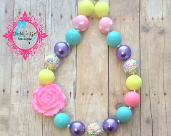 Easter Necklace-Easter Necklace- Spring Chunky Necklace- Girls Easter Necklace-Easter Bubblegum Necklace