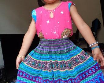 Girl Vietnam Hmong Embroidered Black Cotton Dress