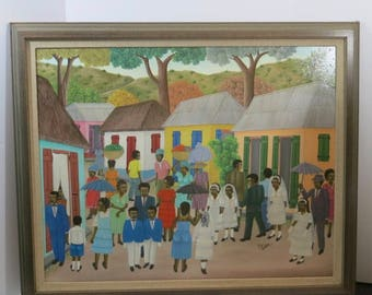 alfred altidor Haitiain artist Large OIL painging Confirmation Town scene