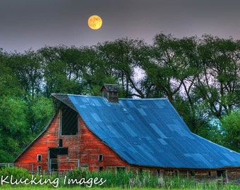 Red Barn Super Moon, Landscape Photography, Moon over Red Barn