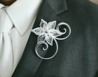 White Boutonniere, White Buttonhole, White Wedding Boutonniere, Wedding Boutonniere, White Keepsake Wedding Gift, Father of the Bride