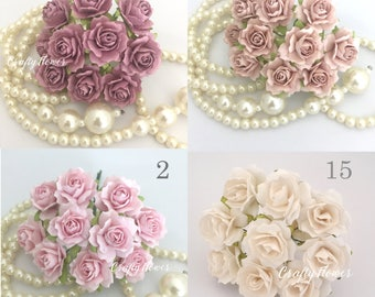 50 Variations Listing Paper Flowers for Baskets Scrapbooks Wedding Faux Cupcake Cards Dolls Crafts Roses  A1/zR5
