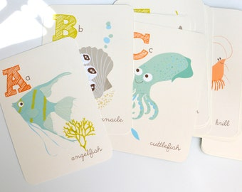 Ocean ALPHABET wall art - flash cards, nursery wall decor for children, bathroom art,  ABC