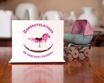 Ride Em Cowgirl - New Baby Card on 100% Recycled Paper