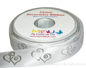 1 Metre of 25mm Double Heart Ribbon - White - Wedding Anniversary Decoration Cake